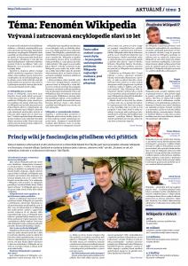 Univerzitní časopis Muni věnoval již v roce 2011 celou stránku Wikipedii při příležitosti jejího 10. výročí. Autor: David Povolný, Muni.cz, březen 2011