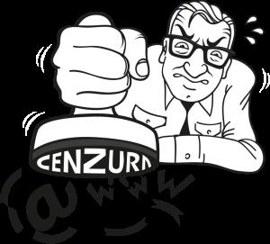"""Logo kampaně """"Přichází cenzor"""""""
