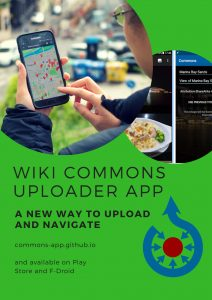 """Plakát """"Aplikace Wikimedia Commons"""" vytvořený během prehackathonu"""