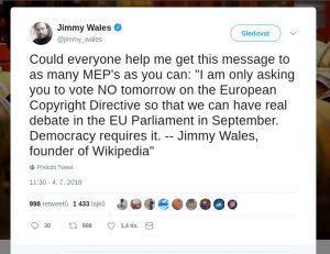 Apel Jimmyho Walese z června 2018